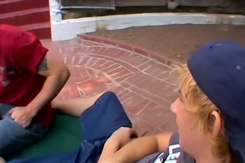 blonde fellows Jeremiah And Casey Enjoying A Poolside plowing