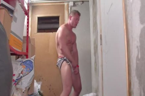 A hot White pumped up dude Stripping Dance