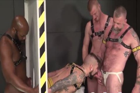 Tattooed Sub Bottom gets plowed At Gloryhole By