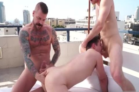 large knob gay threesome And Facial