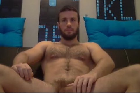 brawny Bearded guy Jacking Is massive Muscle ramrod Tell he Ready To Explode his sex cream