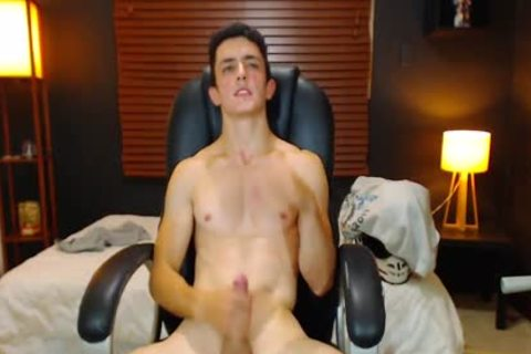 Duke J - Flirt4Free -  big Dicked dude Jerks Off With A Vibrating OhMiBod Lodged deep In His booty