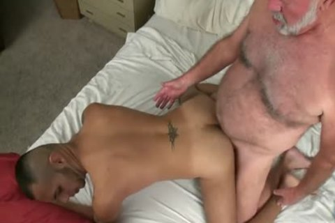 hairy daddy man Has smutty Sex With A tasty young cock
