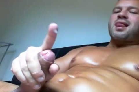 hot Hunk sperm Over His Body